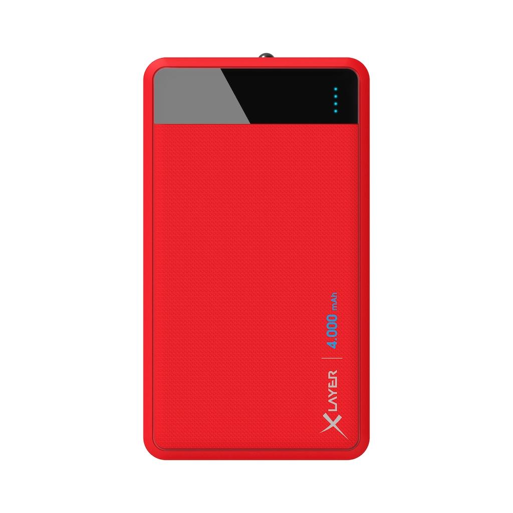 XLAYER Zusatzakku »Powerbank Colour Line Red 4000mAh Smartphones/Tabl«