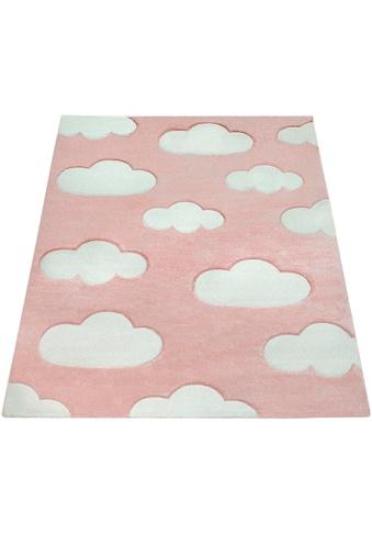 Paco Home Kinderteppich »Cosmo 342«, rechteckig, 18 mm Höhe, Kinder Design, niedliches Wolken Motiv, Pastell-Farben kaufen