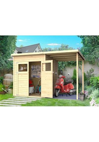 KONIFERA Set: Gartenhaus »Amrum 2«, BxT: 340x199 cm, inkl. Anbaudach und Fußboden kaufen