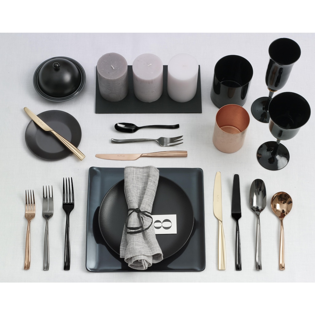 PINTINOX Besteck-Set »Infinito Treasure Titan«, (Set, 30 tlg.), Edelstahl 18/0, Optik Glänzend PVD Beschichtung, 30-teilig