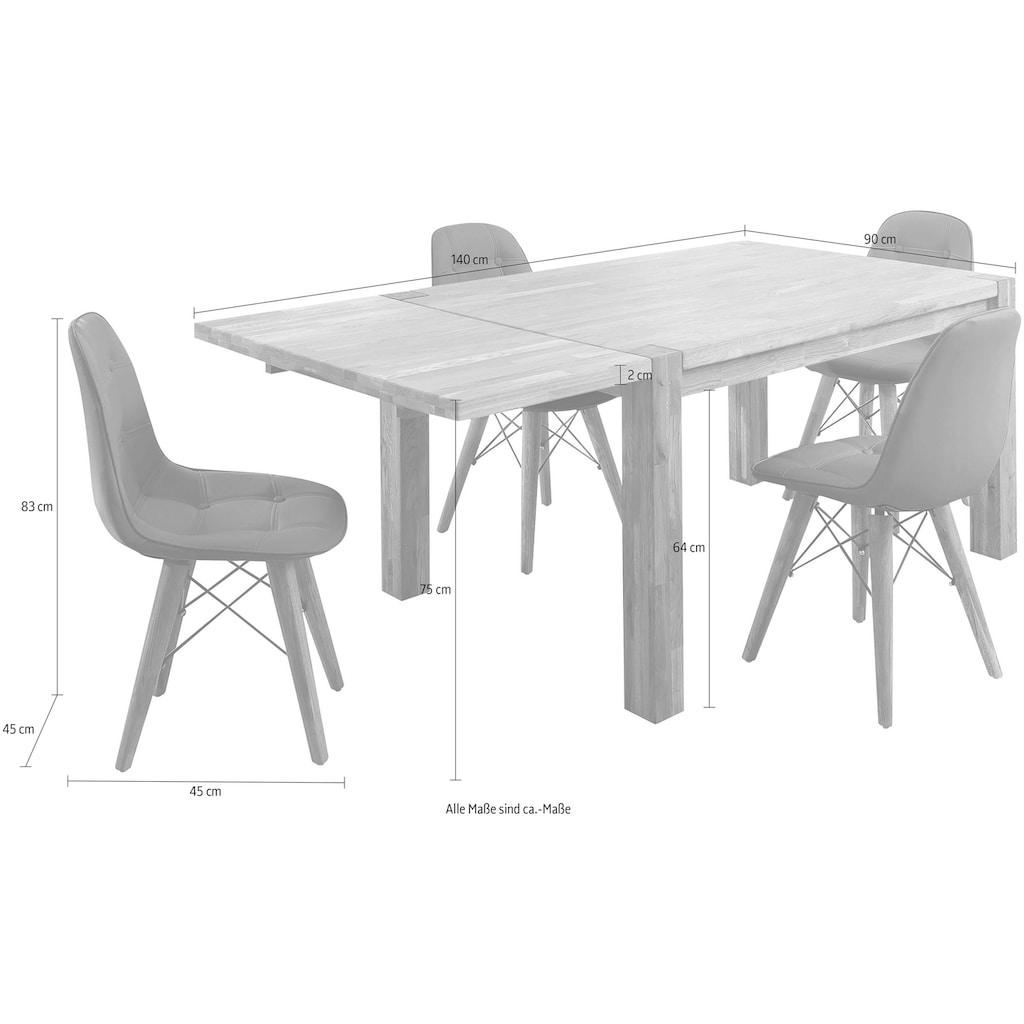 Home affaire Essgruppe »Tim«, (Set, 5 tlg.), bestehend aus 4 Stühlen und einem Esstisch, Esstischgröße 140 cm