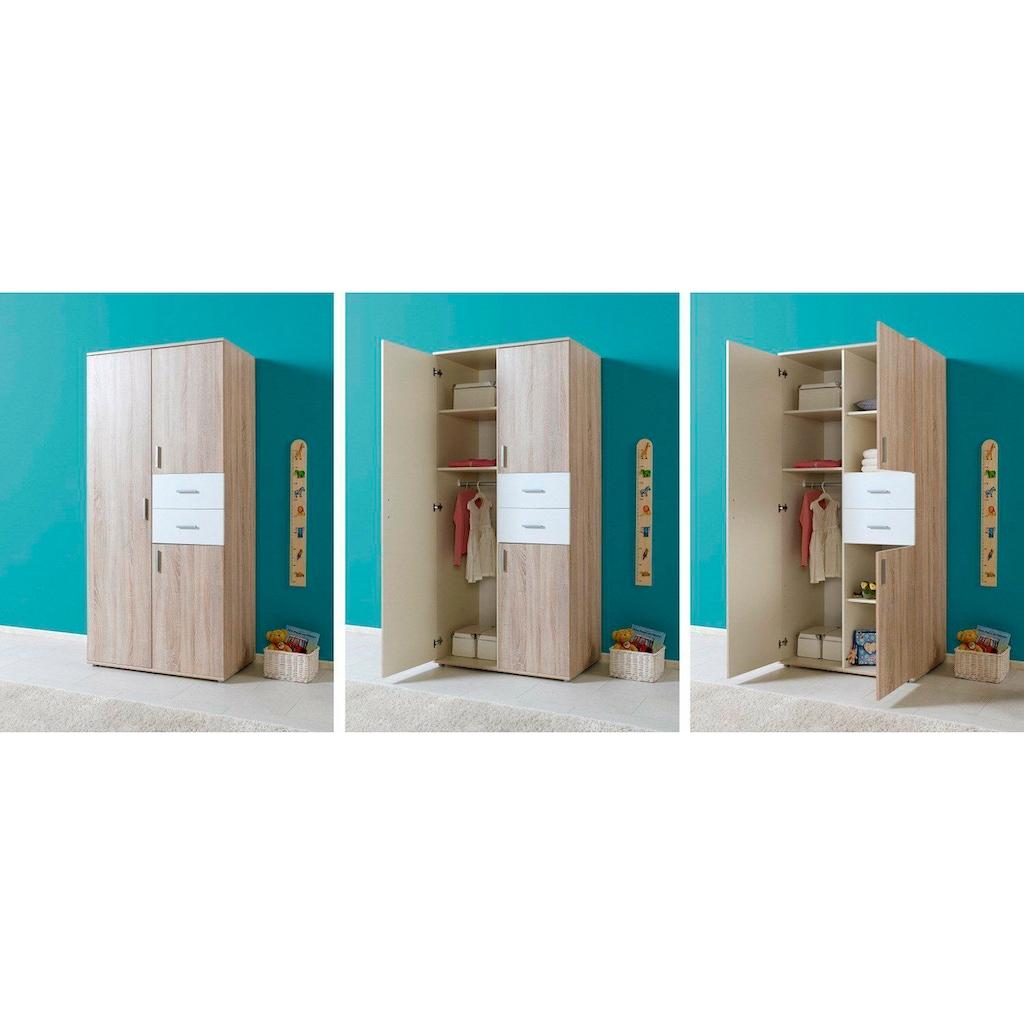 BMG Babyzimmer-Komplettset »Maxim«, (Set, 4 tlg.), Bett + Wickelkommode + 3-trg. Schrank + Standregal