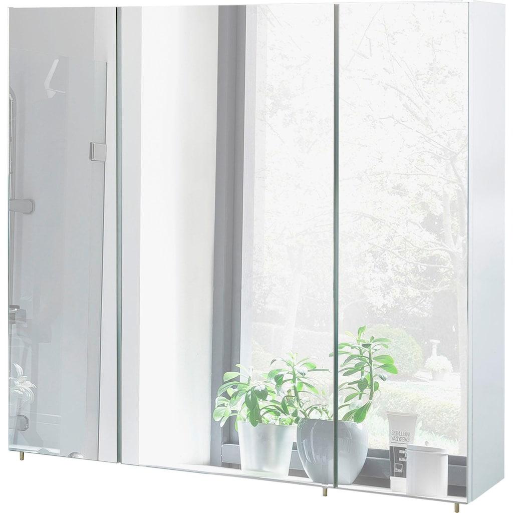 Schildmeyer Spiegelschrank »Basic«, Breite 80 cm, 3-türig, Glaseinlegeböden, Made in Germany