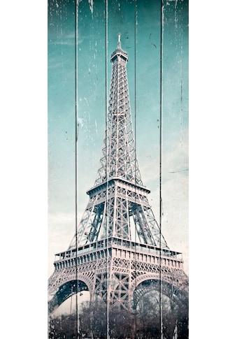 QUEENCE Holzbild »Vintage Eifelturm«, 80x40 cm Echtholz kaufen