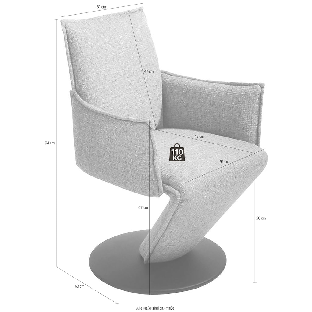 K+W Komfort & Wohnen Drehstuhl »Drive«, Sessel mit federnder Sitzschale, Drehteller in Metall schwarz Struktur