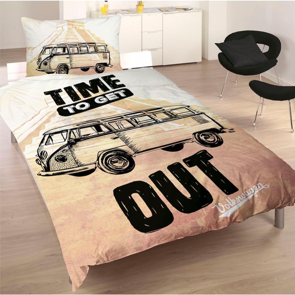Volkswagen Wendebettwäsche »Time to get out«, mit Schriftzug