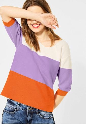STREET ONE V-Ausschnitt-Pullover, mit breiten Streifen kaufen