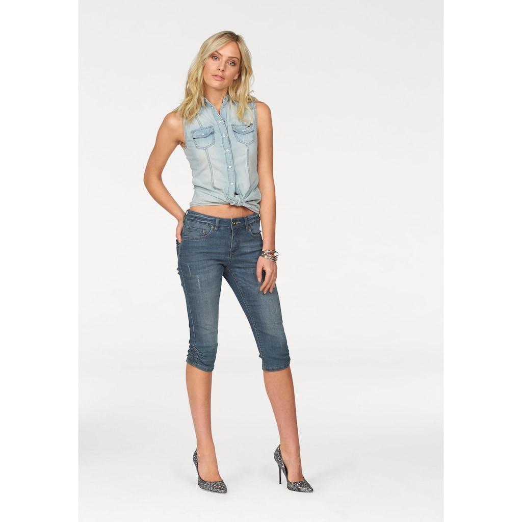 Arizona Jeansbluse, mit Perlmutt-Druckknöpfen