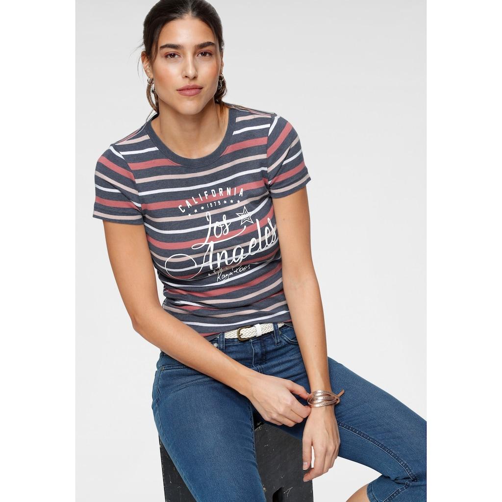 KangaROOS T-Shirt, in schönem Streifenmix mit Frontdruck