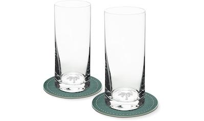 Contento Longdrinkglas, (Set, 4 tlg., 2 Longdrinkgläser und 2 Untersetzer), Palme, 400... kaufen