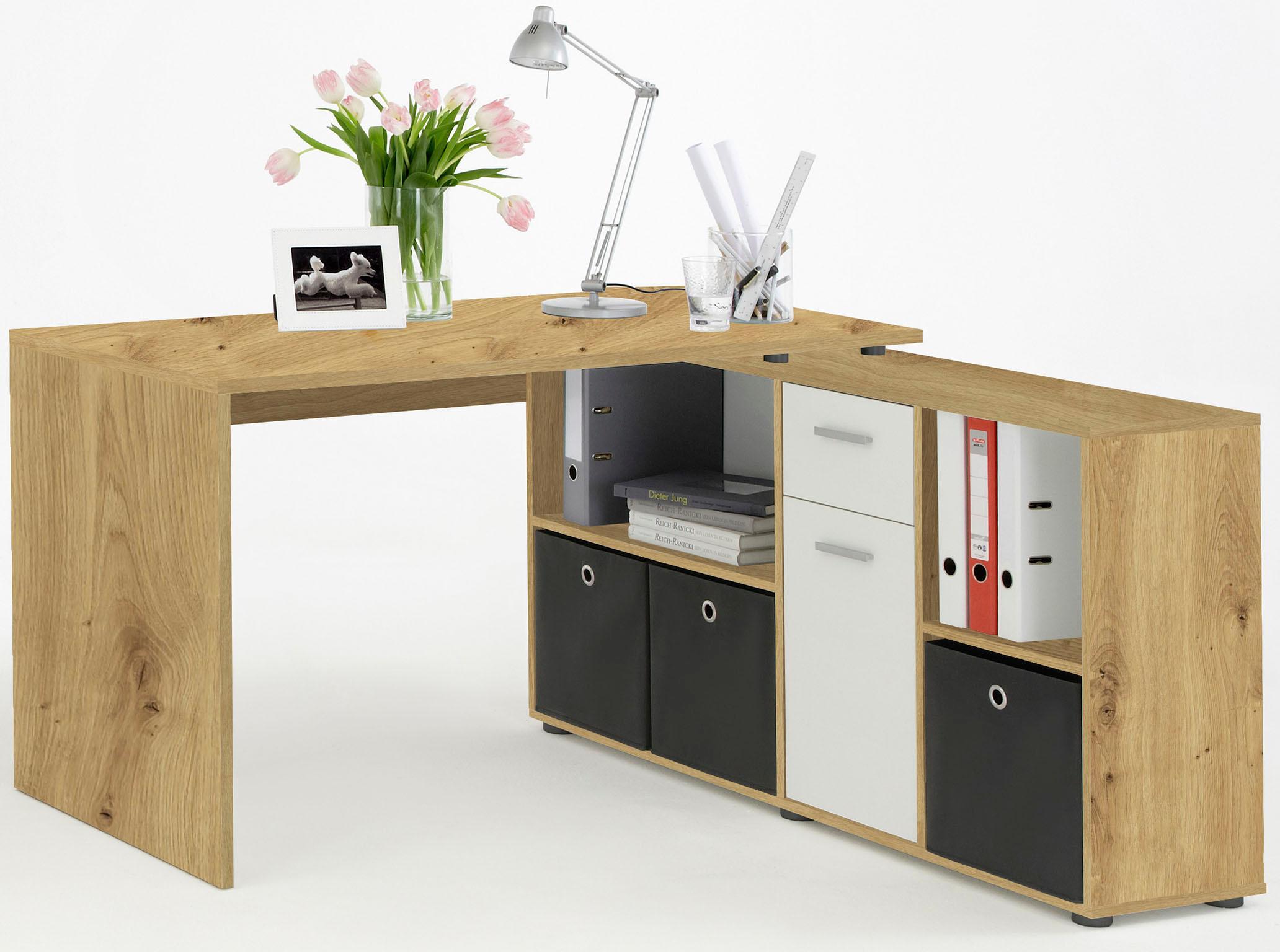 FMD Eckschreibtisch »Lex«, mit Regal | Büro > Bürotische > Schreibtische | Weiß | QUELLE