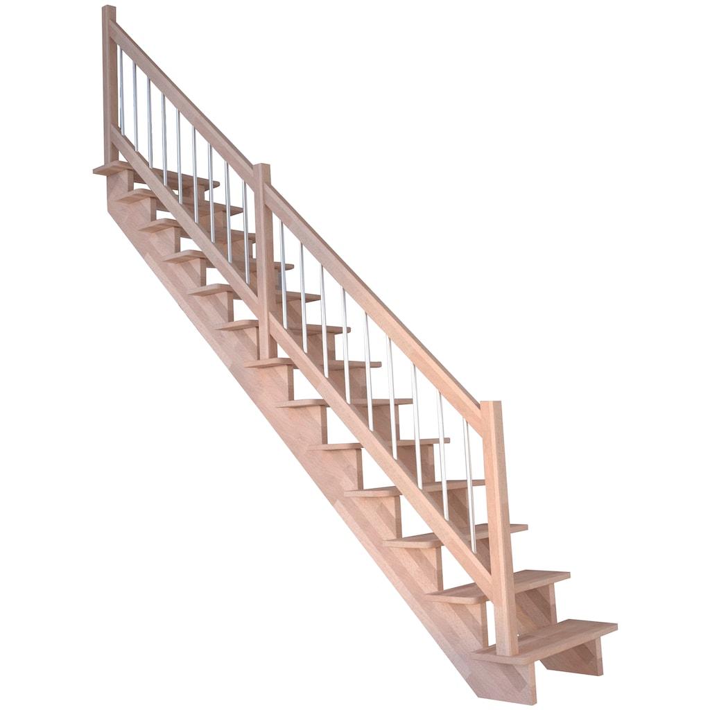 STARWOOD Massivholztreppe »Lindos«, B: 80 cm, gerade Ausführung, Geländer links