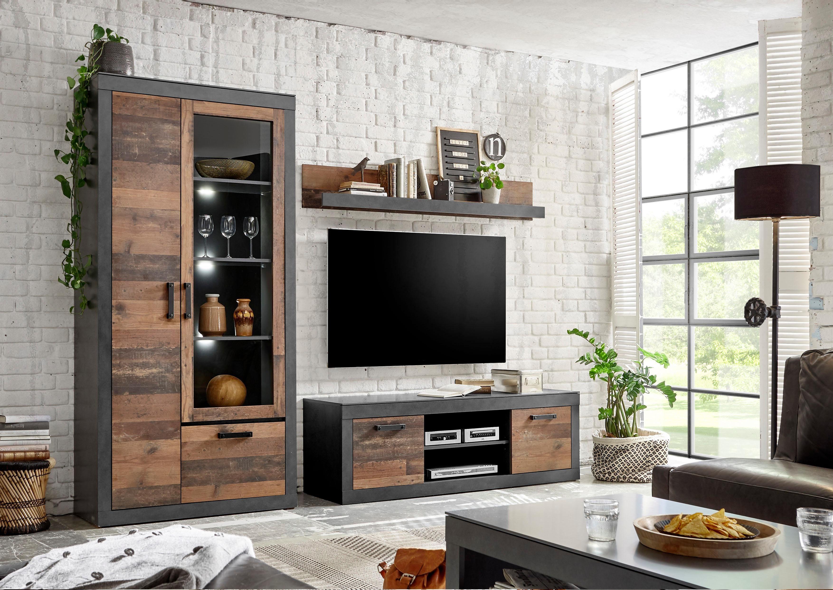 Home affaire Wohnwand »BROOKLYN«, (3 tlg.), in dekorativer Rahmenoptik günstig online kaufen