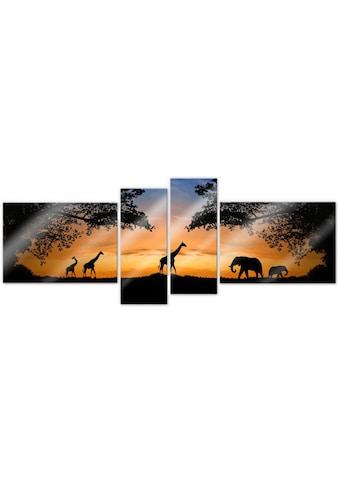 Wall-Art Mehrteilige Bilder »Afrikanische Sonne (4-teilig)«, (Set, 4 St.) kaufen
