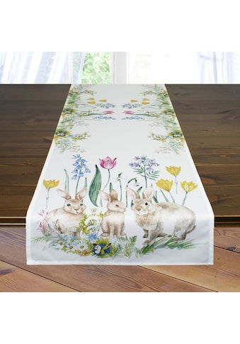 Delindo Lifestyle Tischläufer »Osterhasenfamilie«, Strukturgewebe, bedruckt kaufen