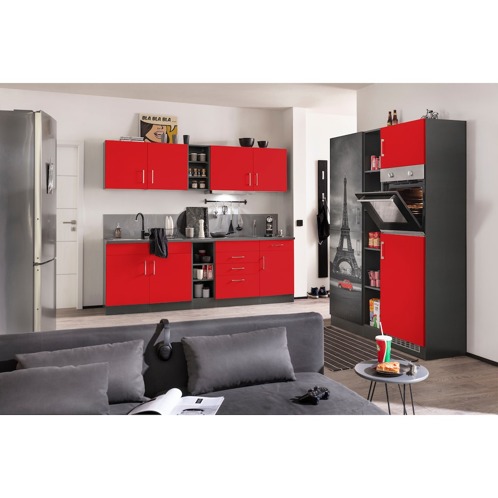 HELD MÖBEL Küchenzeile »Paris«, mit E-Geräten, Breite 390 cm