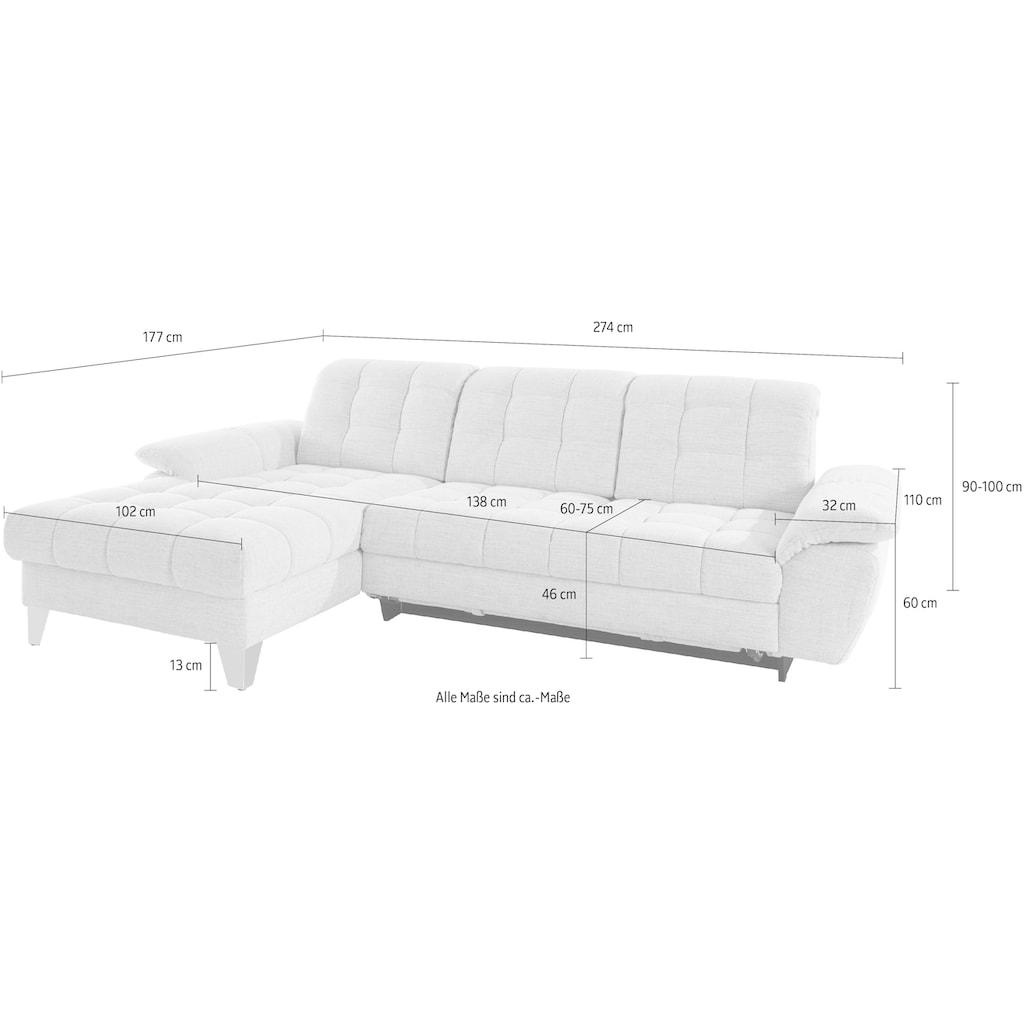 Places of Style Ecksofa »Bardi«, mit Sitztiefenverstellung, wahlweise auch mit Armlehn- und Kopfteilverstellung, Bettfunktion und Bettkasten