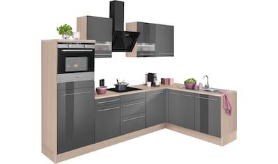 OPTIFIT Winkelküche »Bern«, mit Hanseatic E-Geräten, Stellbreite 285 x 175 cm, mit Induktionskochfeld, gedämpfte Türen und Schubkästen, höhenverstellbare Füße, Metallgriffe kaufen
