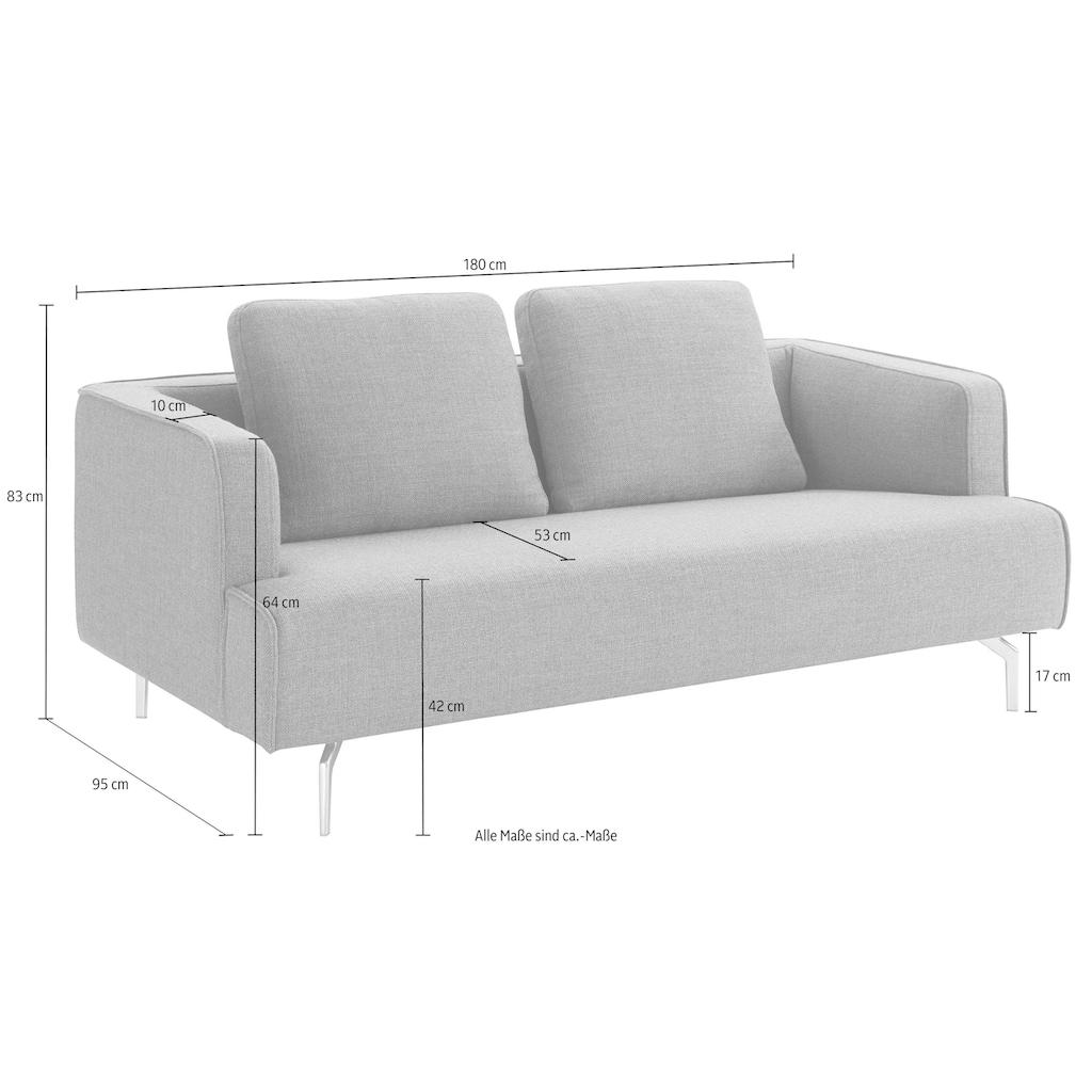 hülsta sofa 3-Sitzer »hs.440«, wahlweise in Stoff oder Leder, Gussfüße poliert