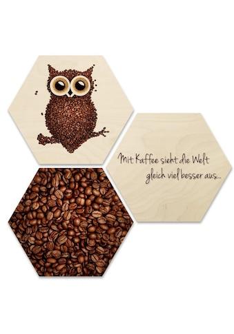 Wall-Art Mehrteilige Bilder »Collage Kaffee Eule Holzdeko«, (Set, 3 St.) kaufen