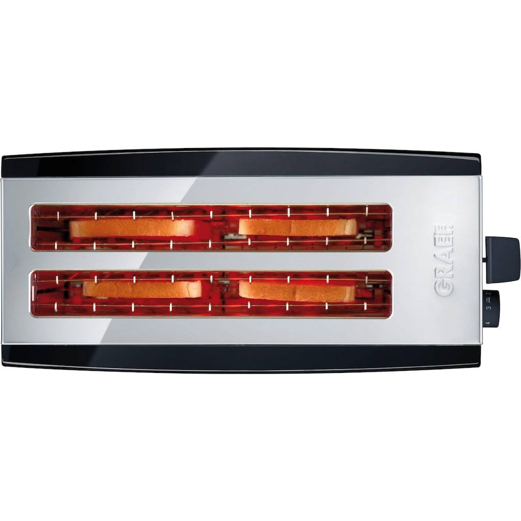 Graef Toaster »TO 102, schwarz-matt«, 2 lange Schlitze, für 4 Scheiben, 1380 W