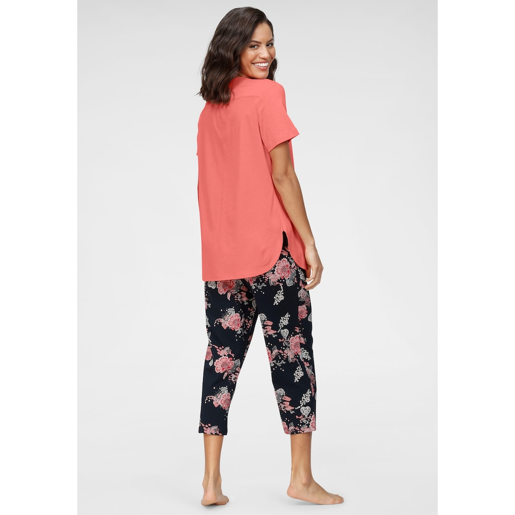 Schiesser Capri-Pyjama, mit geblümter Caprihose