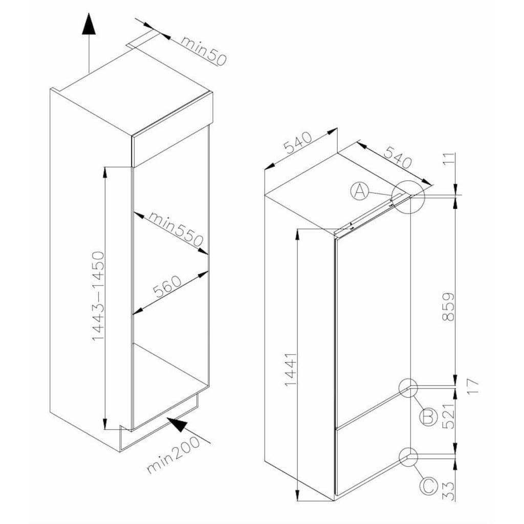 Amica Einbaukühlgefrierkombination, 144 cm hoch, 54 cm breit