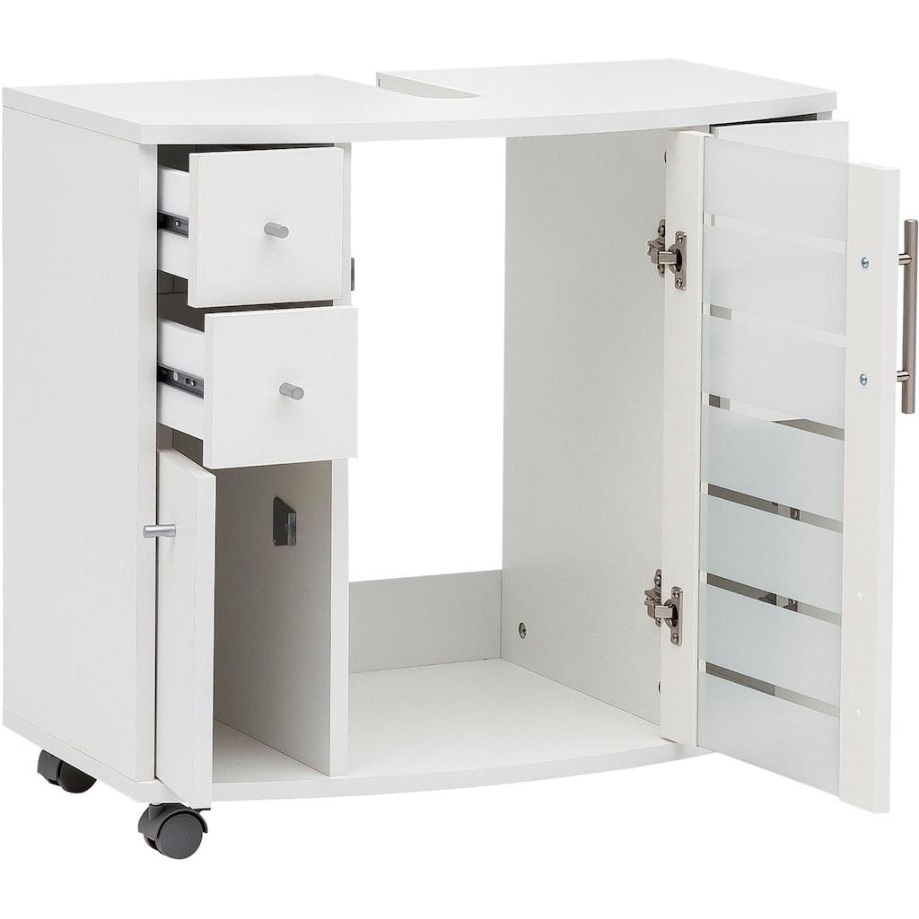 Schildmeyer Waschbeckenunterschrank »Nikosia«, Höhe 63 cm, mit Glastür, 4 Schubladen, hochwertige MDF-Fronten, Metallgriffe, auf Rollen