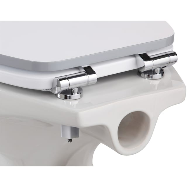 WC-Sitz »Weiß-grau«, MDF Toilettensitz mit Absenkautomatik