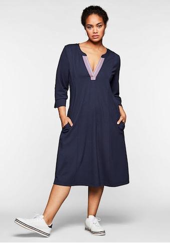Sheego Jerseykleid, mit 3/4-Arm und Kontrasttape am Ausschnitt kaufen