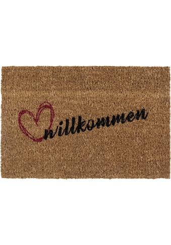 Andiamo Fußmatte »Kokos Willkommen«, rechteckig, 17 mm Höhe, Schmutzfangmatte, mit... kaufen