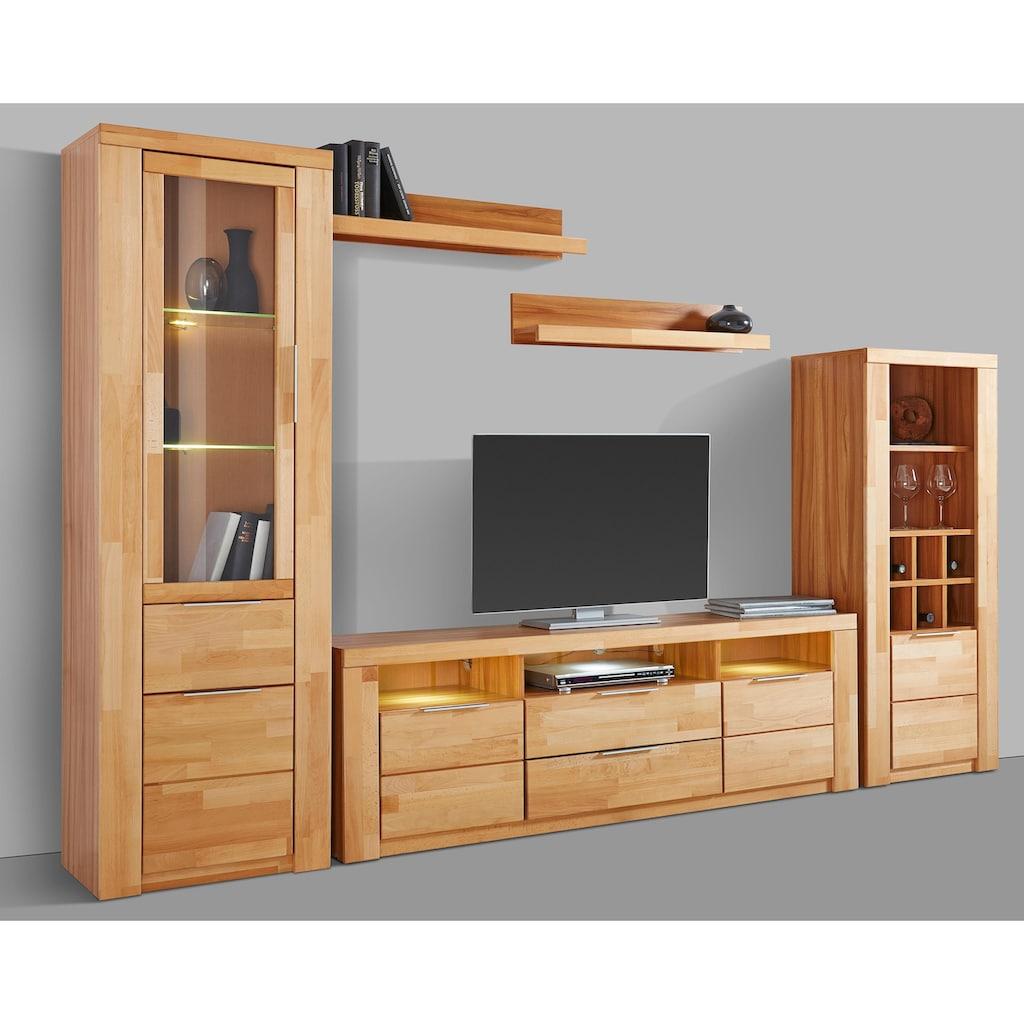 Woltra Wohnwand »Zara«, (Set, 5 St.), teilmassives Holz