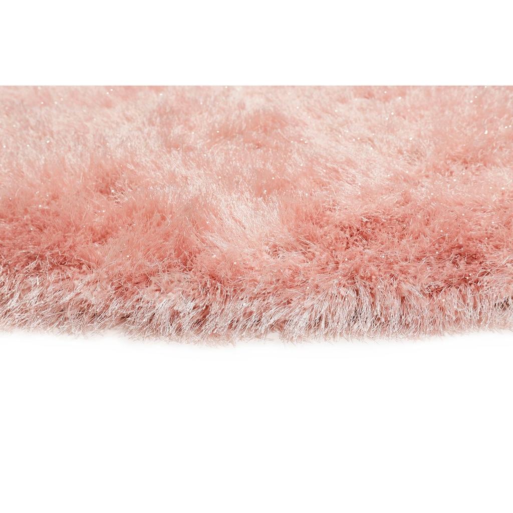 Wecon home Hochflor-Teppich »Shiny Touch«, rund, 70 mm Höhe