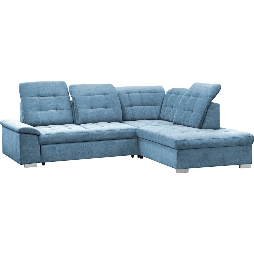 mokebo Ecksofa »Florida«, Schlafcouch, Sofa mit Schlaffunktion, Bettkasten, Sitztiefenverstellung & verstellbaren Kopfteilen