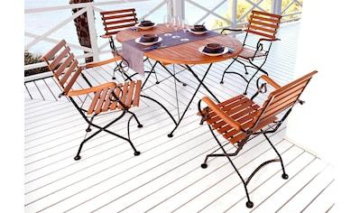 MERXX Sparset: Gartenmöbelset »Schlossgarten«, 5 - tlg., 4 Sessel,ovaler Tisch 140x90 cm, Stahl/Eukalyptus kaufen