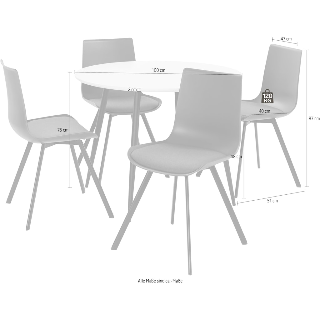 INOSIGN Essgruppe »Dino 2 - Lucky«, (Set, 5 tlg.), Esstisch mit rundem Esstisch und 4 Stühlen