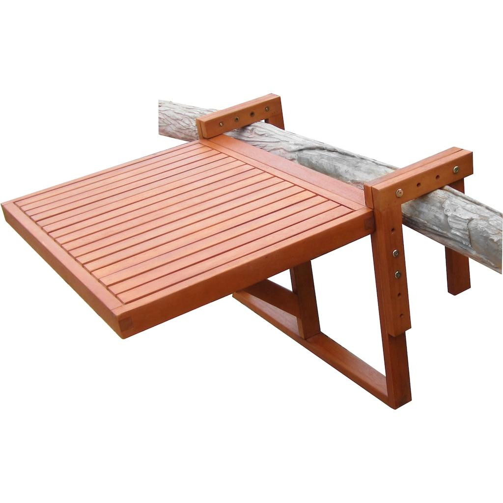 Garden Pleasure Balkonhängetisch »BERKELEY«, (Set, 3 St.), Eukalyptus, klappbar, 60x40cm, 2 Stühle, braun