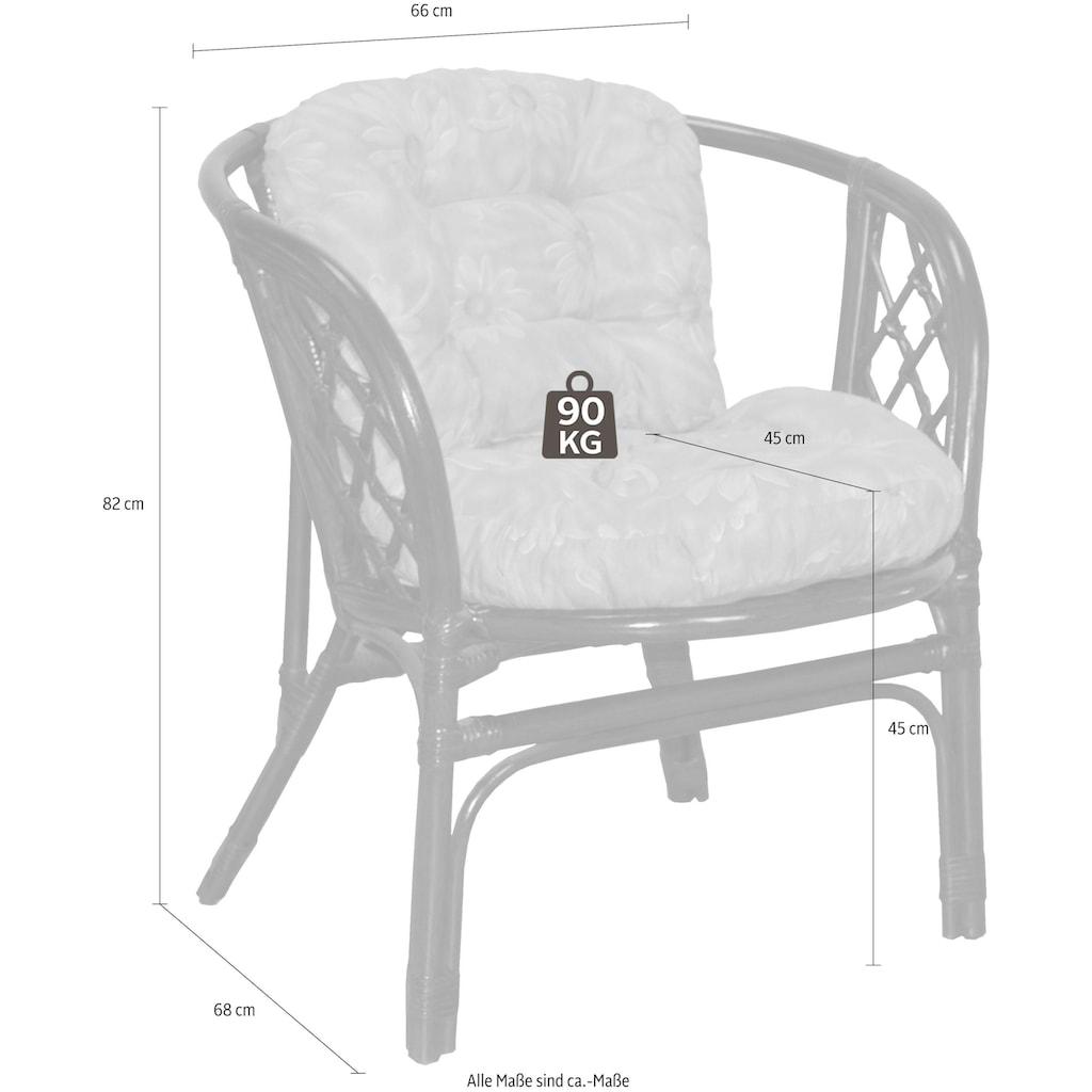 Home affaire Rattanstuhl »Rattansessel«, im 2er-Set aus handgeflochtenem Rattan und passenden Kissenauflagen, Breite 66 cm