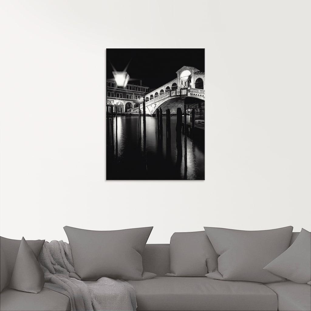 Artland Glasbild »Venedig Canal Grande & Rialto Brücke I«, Brücken, (1 St.)