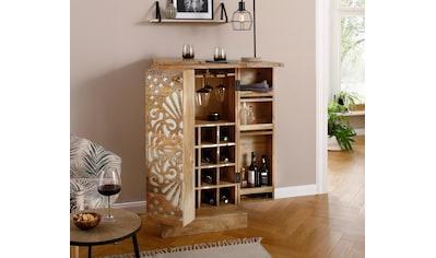 Home affaire Barschrank »Alankar«, aus massivem Mangoholz, mit schöner Fräsung auf den Türenfronten, Höhe 113 cm kaufen
