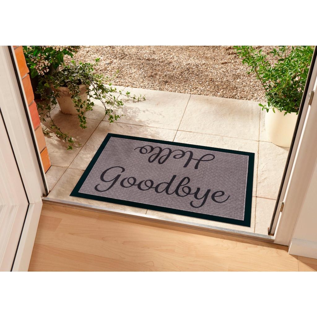 Home affaire Fußmatte »Hello«, rechteckig, 5 mm Höhe, Schmutzmatte, mit Spruch, In- und Outdoor geeignet, waschbar