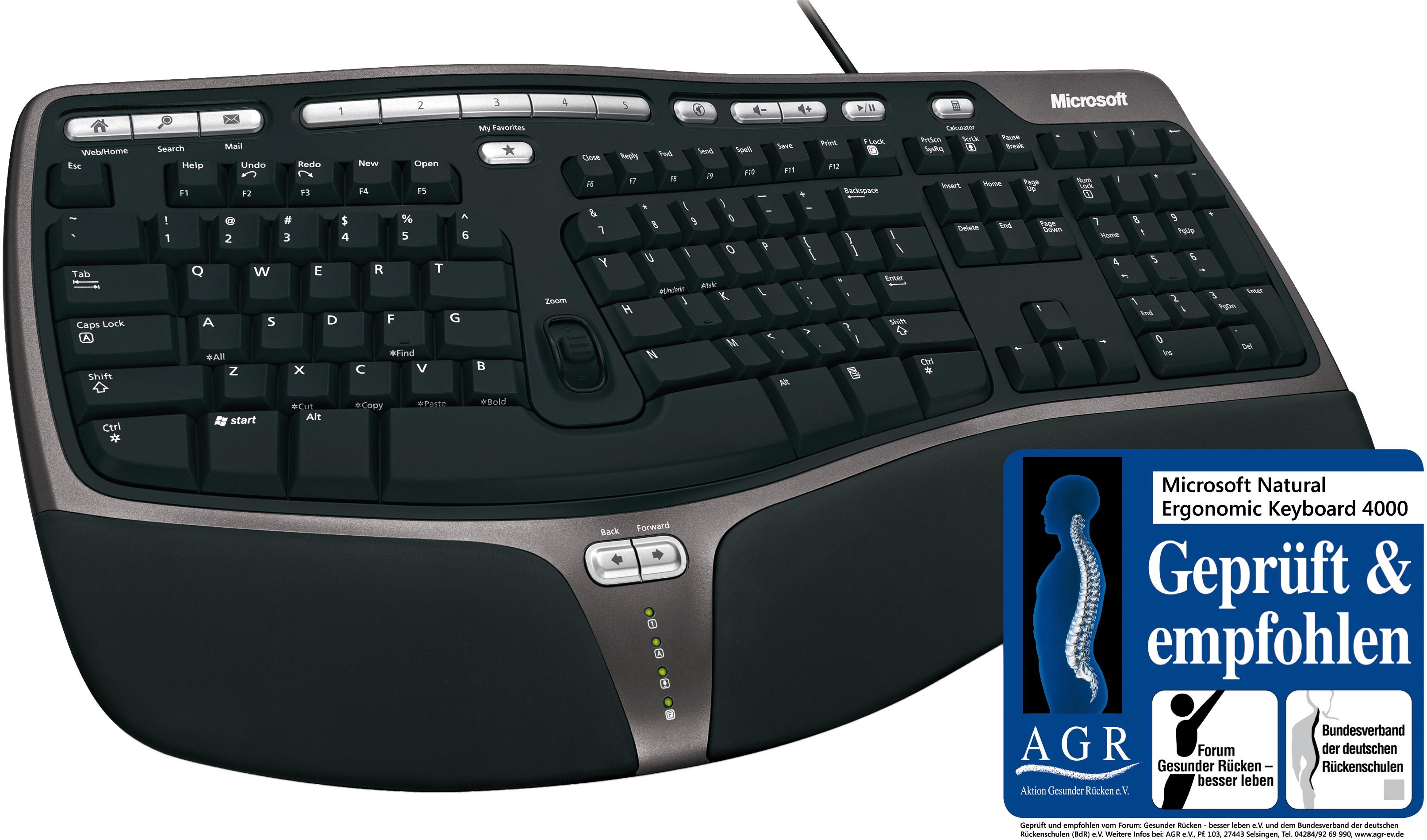 microsoft natural ergonomic keyboard 4000 ergonomische. Black Bedroom Furniture Sets. Home Design Ideas