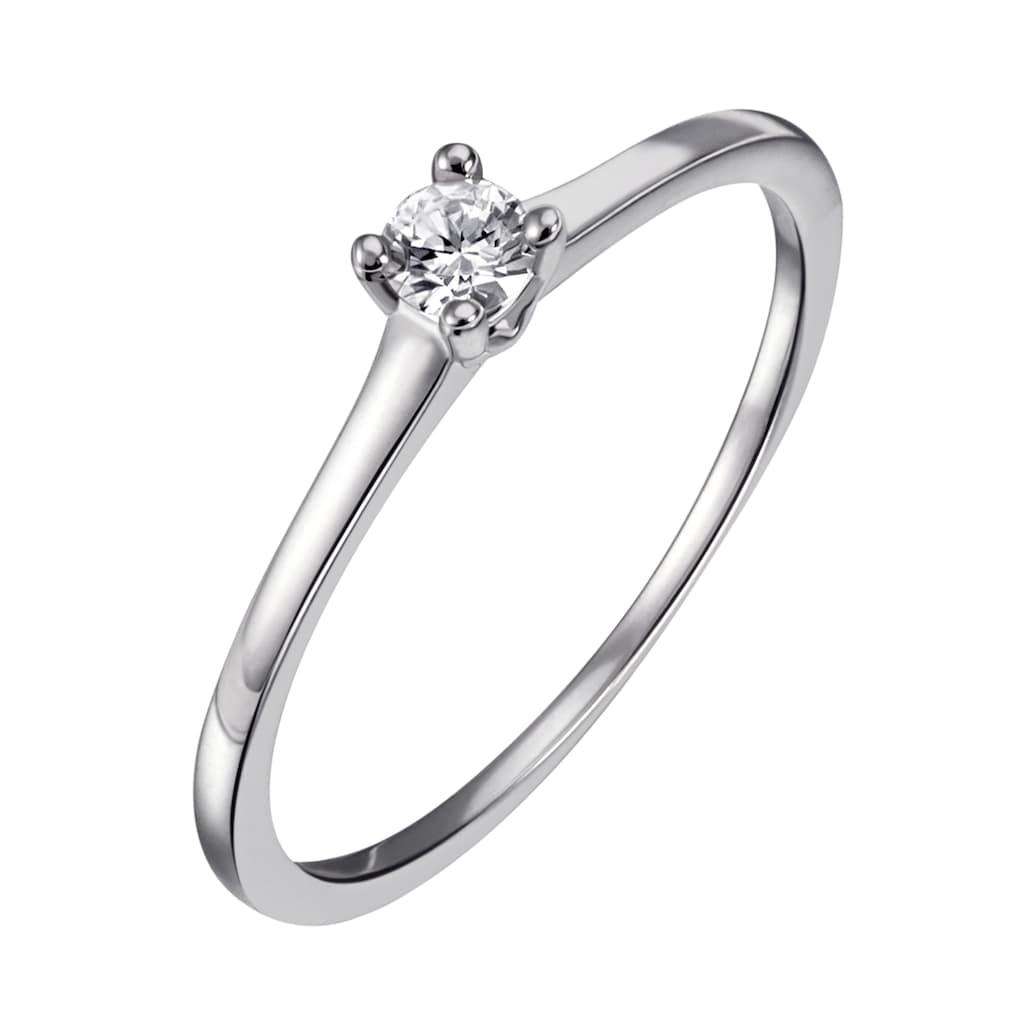 Firetti Diamantring »Solitär, ca.1,40 mm breit, Krappenfassung, Glanz, massiv«, mit Brillant