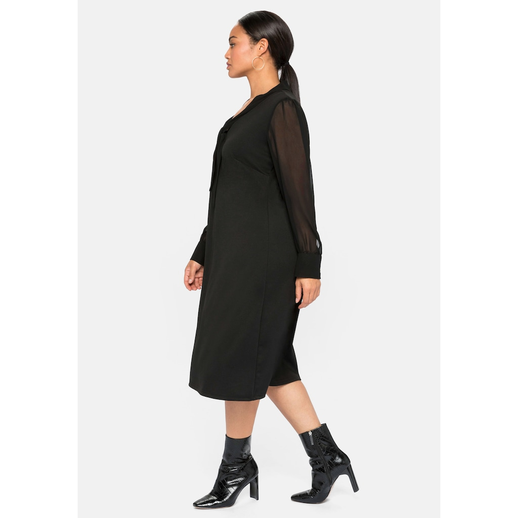 Sheego Jerseykleid, mit Schluppe und Chiffonärmeln