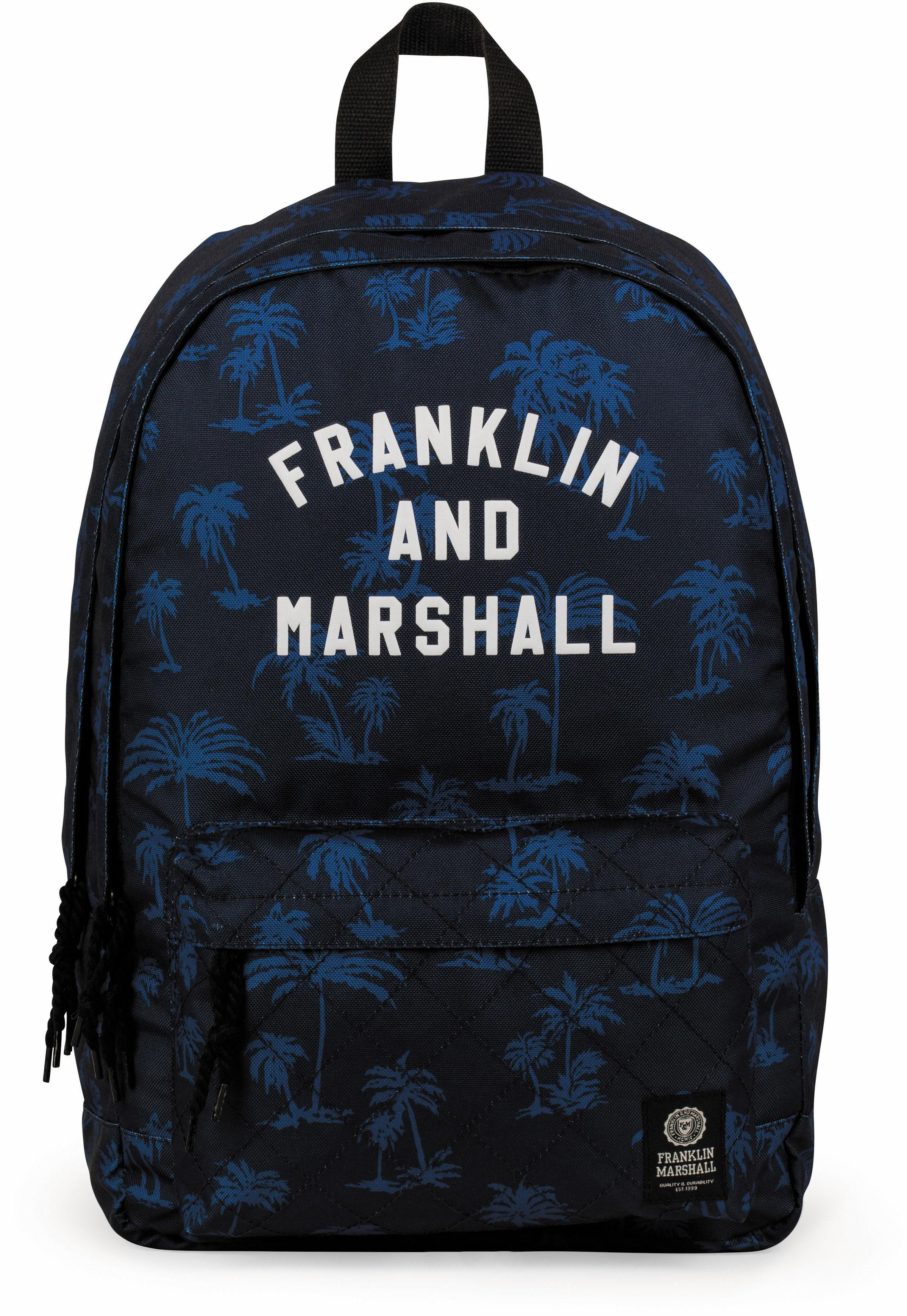 Franklin & Marshall Rucksack mit 2 Hauptfächern, »Boys, Palmen, blau« | Taschen > Rucksäcke > Sonstige Rucksäcke | Blau | FRANKLIN & MARSHALL