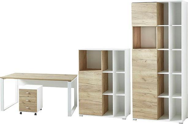 Germania Büromöbel-Set GW-Lioni (4-tlg.) | Büro > Büromöbel-Serien | Weiß | Spanplatte - Eiche - Abs - Metall - Kunststoff - Melamin | GERMANIA