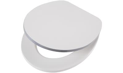 WC - Sitz »Weiß - grau«, MDF Toilettensitz mit Absenkautomatik kaufen