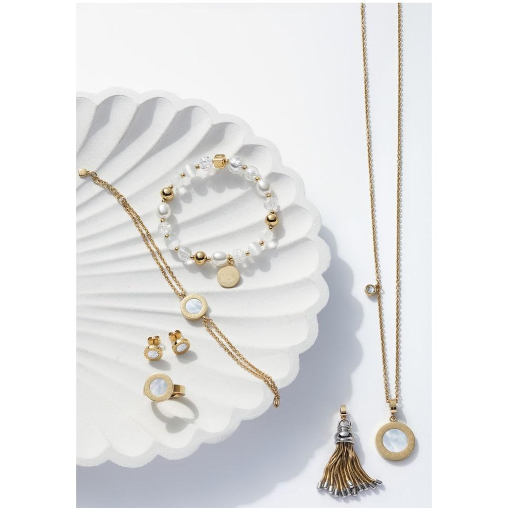 LEONARDO Edelstahlarmband »gold Hope, 018113«, mit Cat´s Eye, Glasperlen und imit. Perlen
