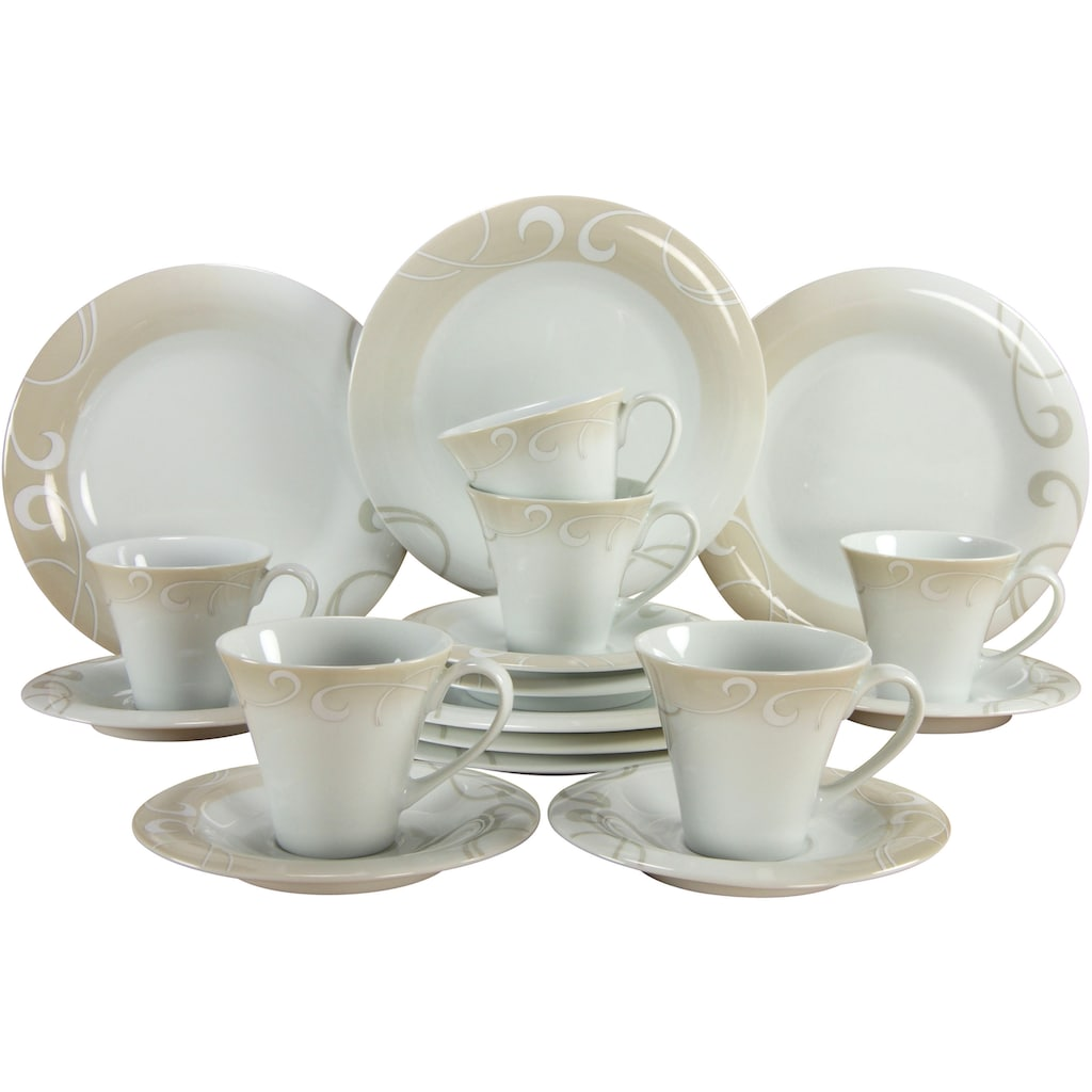CreaTable Kaffeeservice »Soft Finesse«, (Set, 18 tlg.), Rankenornament