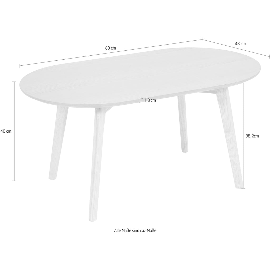 Homexperts Couchtisch »Lina«, (BxT) 85x48 cm, oval, aus Massivholz Eiche